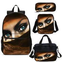 Beautiful Eyes kids Backpack Set Schoolbag Insulated Lunch Bag Pen Case Lot