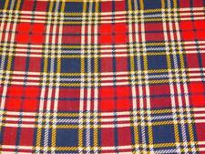 """Vintage Cotton Printed FEEDSACK Quilt FABRIC Red Navy Blue Yellow PLAID 38""""x46"""""""