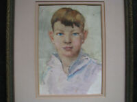 1940s STREET URCHIN SAILOR BOY WaterColor Painting vintage CALIFORNIA ARTIST