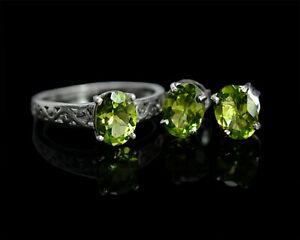 Natural Peridot Oval Cut Gemstone 925 Sterling Silver Anniversary Jewelry Set