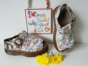 Dr Doc Martens floral flowers white platform sandals fisherman  UK 5 EU 38 US 7