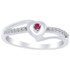 Round Cut Pink Sapphire & Cubic Zirconia Heart Promise Ring 14K White Gold Over