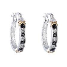 Earrings White Gold Hoops Black Sapphire & Diamonds 25 mm Silver Gift gf