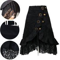 Women Black Lace Steampunk Rock Gothic Victorian Skirt Gypsy Club Prom Dress