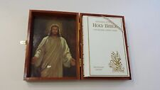 The Holy Bible in Wooden Cedar Box Memorial Illustrated Protestant Concordance