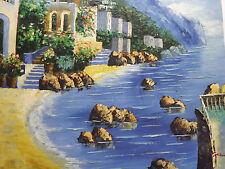 Vista Mar mediterráneo Grande Pintura al Óleo Lienzo Océano Grecia España Italia Arte
