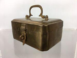 Vintage Solid Brass Money Box Cash Tin Lockable Collection Safe Moneybox