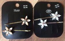 HAIR CLIP SLIDE HAIR ACCESSORY X4 SILVER & BRONZE GEM FLOWER HAIR GRIPS RRP £12!