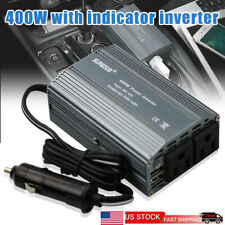 Power Inverter 400 Watts DC to AC Dual Outlets W/ 2 USB Port Car Charger Adapter