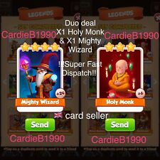 Duo Deal X1 Holy Monk & X1 Mighty Wizard  Coin Master Trading Cards FastDelivery