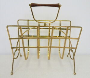NICE Mid Century modern retro metal wire magazine rack floor stand brass