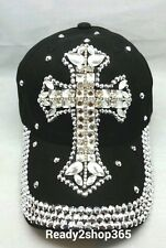 CROSS Baseball Ball Cap Jewel Rhinestone Bling Sparkle Hat Adjustable New Black