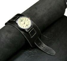 Cuff watch strap leather bund band Black steampunk strap Handmade custom