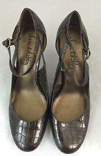 4b2052d1f Sam   Libby Women Shoes Metallic Brown Gator Imprint Hi Heel Ankle Strap  Sz8M