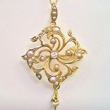 Charming Antique Victorian 15ct Gold Diamond & Seed Pearl Pendant Necklace c1890