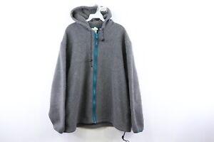 Vintage 90s LL Bean Mens XL Script Spell Out Hooded Deep Pile Fleece Jacket Gray