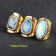 5Pcs Natural Labradorite With CZ Pave Edge Gold Plated Cuff Band Ring HOT GJA129