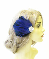 Royal Blue Black Silver Peacock Feather Fascinator Vintage Hair Clip Races 1293