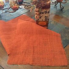 Primitive Rustic Orange Thanksgiving Harvest Fall Wedding Burlap Table Runner 6'