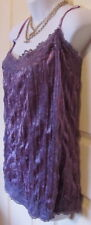 TOP CAMISOLE LILAC CRUSHED VELVET SPARKLY WITH LACE AND SEQUINS SIZE 26