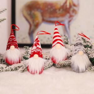 4 Christmas Gnome Plush Doll Pendant Xmas Tree Hanging Ornament Party Decor Gift