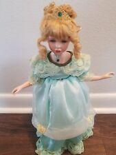 "Victorian Porcelain 16"" Princess Doll Green Eye/ Blonde Hair"