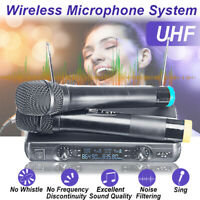 220V Wireless Microphone System UHF 2 Channel Handheld Dynamic 2 Mics
