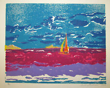 ANNAPOLIS NAVAL ACADEMY Sail boat on Severn River framed 1987 woodblock SIGNED!