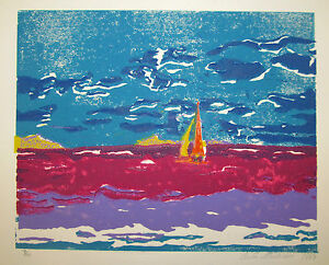 1987 Severn River Annapolis Naval Academy Navy USN woodblock signed & numbered