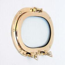 "Nautical Solid Brass Ship's Porthole 12"" Window Oval Glass Maritime Wall Decor"