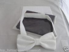 WHITE Polyester Bow Tie + White & Black Hankies Set (3 Items) P&P 2UK >1st Class