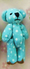 "9 Mini Fabric 2"" Teddy Bear 4cm Craft Doll Applique/cute/baby/toy H537-Blue Dot"
