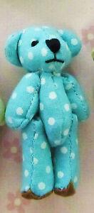 """9 Mini Fabric 2"""" Teddy Bear 4cm Craft Doll Applique/cute/baby/toy H537-Blue Dot"""