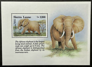 SIERRA LEONE AFRICAN ELEPHANT STAMPS SS 1993 MNH WILD ANIMALS WILDLIFE FAUNA