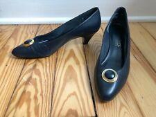 Naturalizer Navy Leather Heels Pumps w/Metal Gold Toe Design Sz 8 Extra Narrow