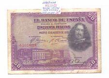 BILLETE DE 50 PESETAS  MADRID  AÑO 1928 (  sello en seco sin serie ) ( MB11431 )