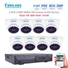 Eyes.sys 8pcs 2.0MP CCTV 48IR Vandal Dome HD Camera POE 5MP NVR Security System