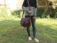 Womens Genuine Real Leather Handbag Shoulder Bag Satchel Messenger traditinal