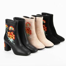 Women's Embroidered Round Toe High Heeled Boots Side Zipper Ankle Chunky Boots