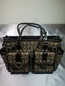 Brighton Purse Tan Heart Pattern Brown Leather Double Straps & Outer Pockets