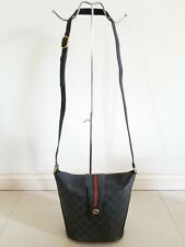 GUCCI Vintage Black PVC GG Red Green Striped CROSS BODY Messenger Bag