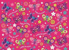 Girl's Hot Pink & Lilac Butterfly Birthday Wrapping Paper - 1 Sheet & Gift Tag