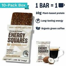 Quantum Energy Squares Bar Vegan Coffee Protein 10 Bars COCONUT ALMOND