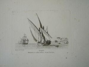 BELLE GRAVURE PAYSAGE MARINE BATEAU VOILIER MILITAIRE MEDITERANEE PINQUE 1810