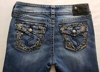 Silver Jeans Suki Womens Blue Denim Size 26 x 33 Boot Cut Med Wash Mid Rise Flap