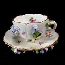 Meissen Crossed Swords Mark Applied Flowers Demitasse Footed Cup Saucer Teacup
