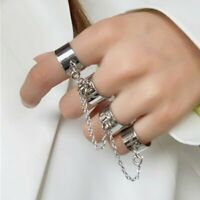 Open Finger Women Multi-layer Chain Punk Rings Four Rotate Rings Adjustable Gift