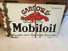 1930 French Mobil Oil Gargoyle Double Sided Porcelain Sign Gas Pre WWII Art Deco