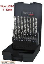 Terrax by RUKO, 19pcs Drill Bits Set, HSS-G, 1.0 - 10.0mm in increments of 0.5mm