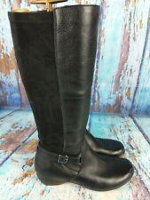 DANSKO Francesca Black Leather Knee High Tall Boots 5505020200 Women's 38 / 7.5
